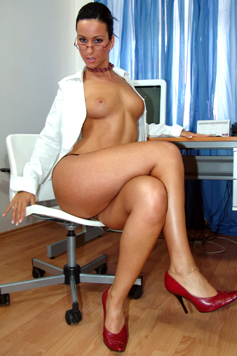sexy secretary in glasses