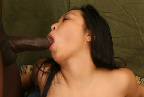 Asian hunny sucks black cock